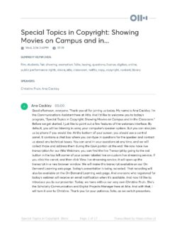 Special Topics in Copyright Movies