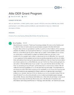 Atla OER Grant Program May