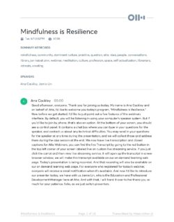 Mindfulness Is Resilience