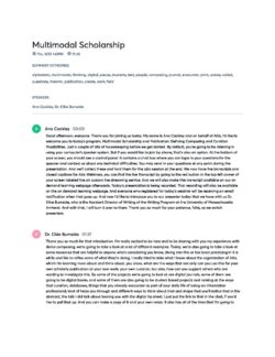 Multimodal Scholarship & Publication